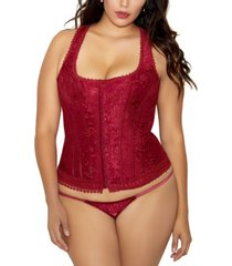 icollection plus size brocade racer back corset 2pc lingerie set