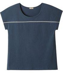 shirt van bio-katoen met kant, nachtblauw 44/46