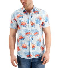 sun + stone men's diffused tropical shirt, created for macy's