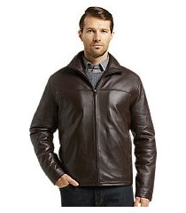 reserve collection traditional fit leather jacket - big & tall clearance