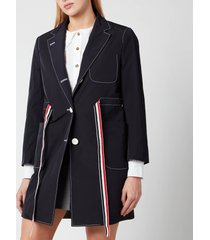 thom browne women's sack overcoat with rwb gg belt - navy - it 40/uk 8