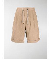brunello cucinelli drawstring linen shorts