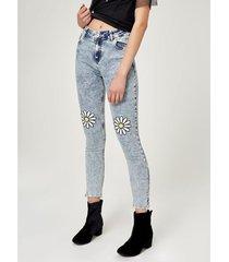 jean skinny con flores