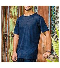 men's cotton founder's t-shirt, 'dark blue kuta breeze' (indonesia)