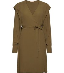dora wrap dress knälång klänning grön soft rebels