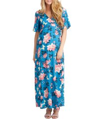 women's nom maternity landon maxi wrap maternity/nursing dress, size small - blue