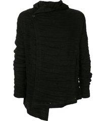 forme d'expression asymmetric ribbed jacket - black