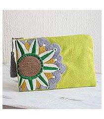 cotton cosmetic bag, 'golden lime sunshine' (guatemala)