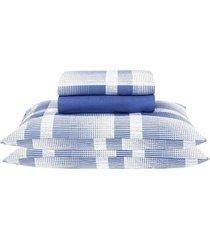 jogo de cama casal santista prata brodway, azul, 4 peças