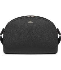 a.p.c. half-moon saffiano leather shoulder bag