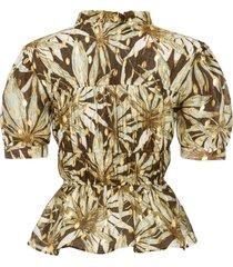 blouse met korte mouwen en metallic effect