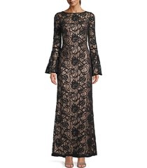tadashi shoji women's bell-sleeve lace gown - black copper - size 4
