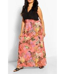 plusmaat maxi-jurk met contrasterende palmprint, perzik