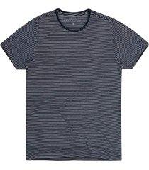 camiseta masculina botonê listras coqueiro marinho/branco