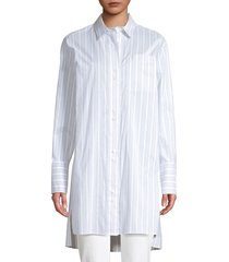 lafayette 148 new york women's marvin oversized striped boyfriend shirt - aerial blue - size s