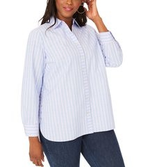 plus size women's foxcroft anya stripe non-iron cotton blend tunic blouse, size 20w - blue