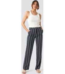 na-kd classic wide striped suit pants - blue