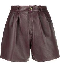 etro pleated leather shorts - purple