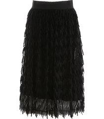 dolce & gabbana fringed tulle skirt