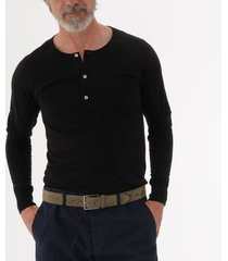 merz b. schwanen button facing deep black henley t-shirt 206