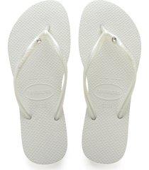 women's havaianas 'slim crystal glamour' flip flop, size 37/38 br - white