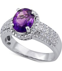 amethyst (1-1/2 ct. t.w.) & diamond (1/8 ct. t.w.) ring in sterling silver