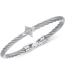 charriol women's debutante white topaz bangle bracelet (5/8 ct. t.w.) in stainless steel