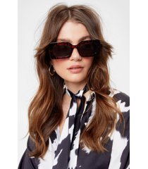 womens share your torts tinted rectangle sunglasses - brown