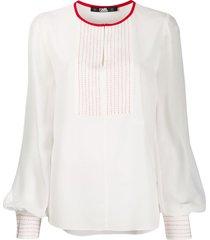 karl lagerfeld stitched bib detail blouse - white