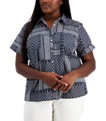 tommy hilfiger plus size patchwork camp shirt