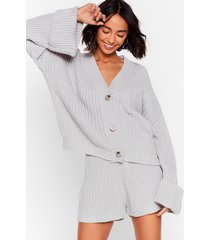 womens the lap of luxury chunky knit shorts lounge set - grey
