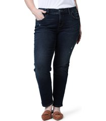 plus size women's slink jeans mid rise slim jeans, size 22w - blue