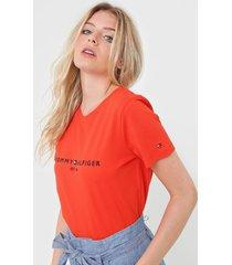 camiseta tommy hilfiger logo laranja - laranja - feminino - algodã£o - dafiti