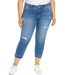 plus size women's jag jeans carter ripped crop girlfriend jeans, size 20w - blue