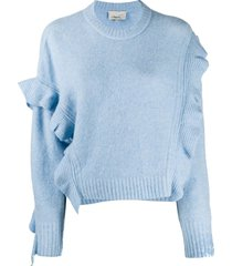 3.1 phillip lim cropped ruffled jumper - blue