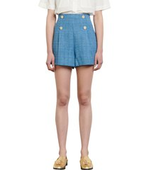 women's sandro high waist button tweed shorts
