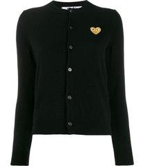 comme des garçons play heart patch slim-fit cardigan - black