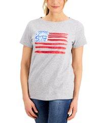 karen scott petite embellished-flag t-shirt, created for macy's
