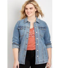 maurices plus size womens medium wash belted trench blue denim jacket