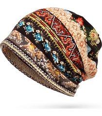 donna berretto beanie multifunzionale in cotone con stampato a strisce cappello casual da sole all'aperto