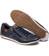 sapatenis couro tchwm shoes masculino elastico ziper dia dia azul marinho - kanui