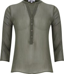 blusa manga 3/4 transparencia color verde, talla 8