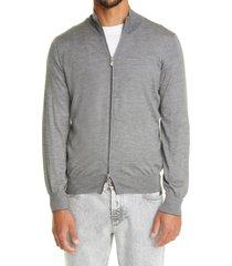 brunello cucinelli zip cashmere & silk sweater, size 40 us in grey at nordstrom