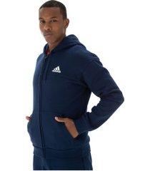 jaqueta de moletom com capuz adidas sport full zip - masculina - azul escuro