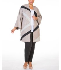 black tape plus size open-front colorblocked cardigan sweater