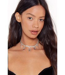 womens don't cross my path pendant choker - silver