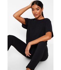 basic t-shirt en zachte jersey leggings pyjama set, black