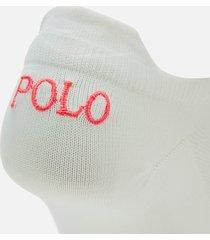 polo ralph lauren women's double tab ankle socks 3 pack - white