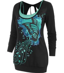 butterfly tie cut out back top with cami top
