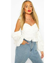 jacquard cold shoulder puff sleeve top, white